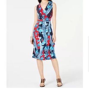 INC Petite Patchwork Wrap Midi Dress